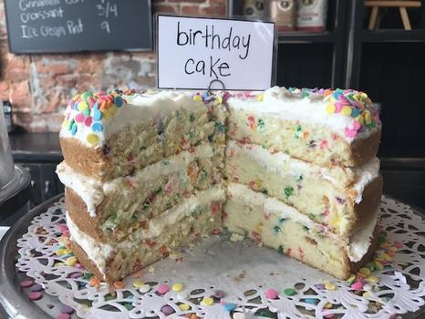 Vanilla bean dream with rainbow confetti sprinkles...we call it Birthday Cake!